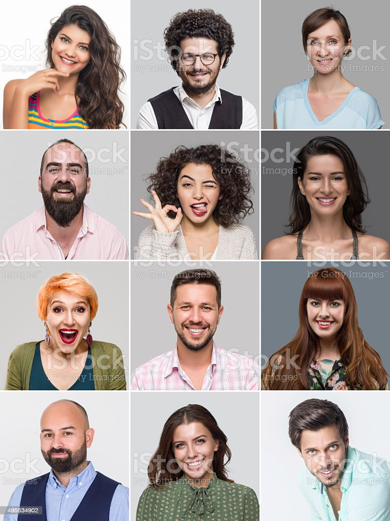 twelve multi ethnic people in a grid smiling faces of a variety of