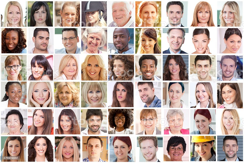 Portraits of faces stock photo
