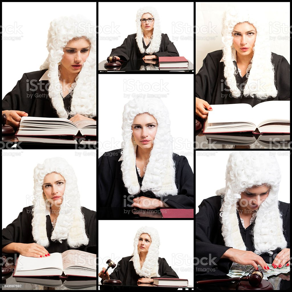 Portraits of Female Judge wearing  wig and black mantle.Collage. stock photo