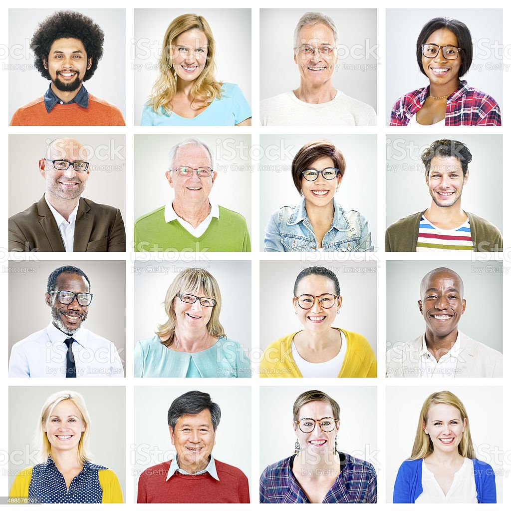 Portraits of Multiethnic Diverse Colourful People stock photo
