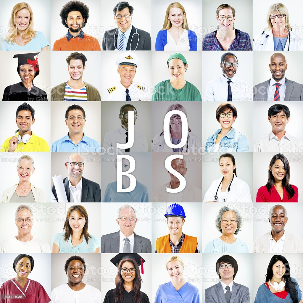 Portraits of Multiethnic Mixed Occupations People stock photo