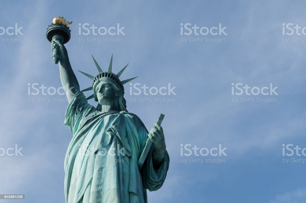Portraits of The Statue of Liberty on a Sunny Afternoon stock photo