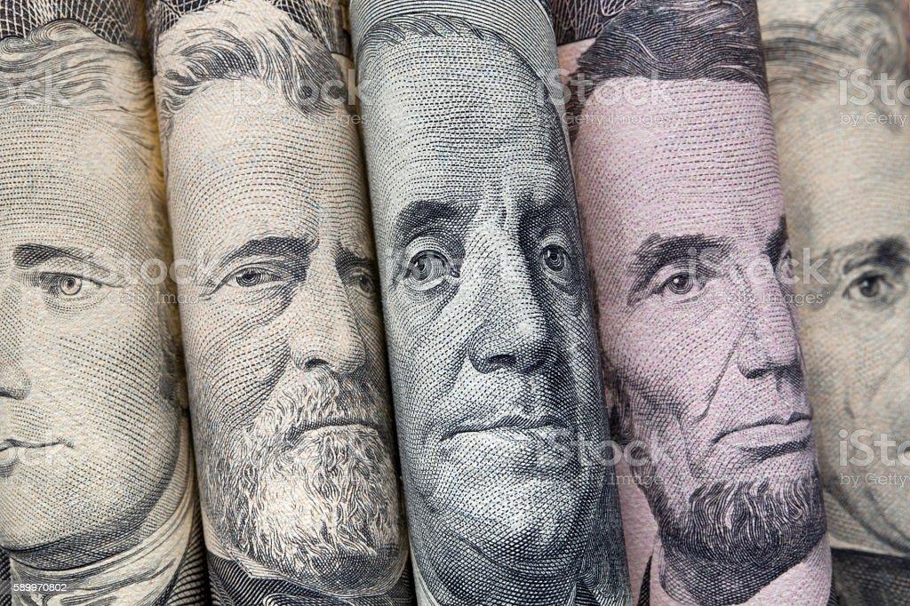 Portraits of U.S. presidents on dollar bills stock photo