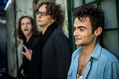 Portraiture of caucasian musicians in rock band