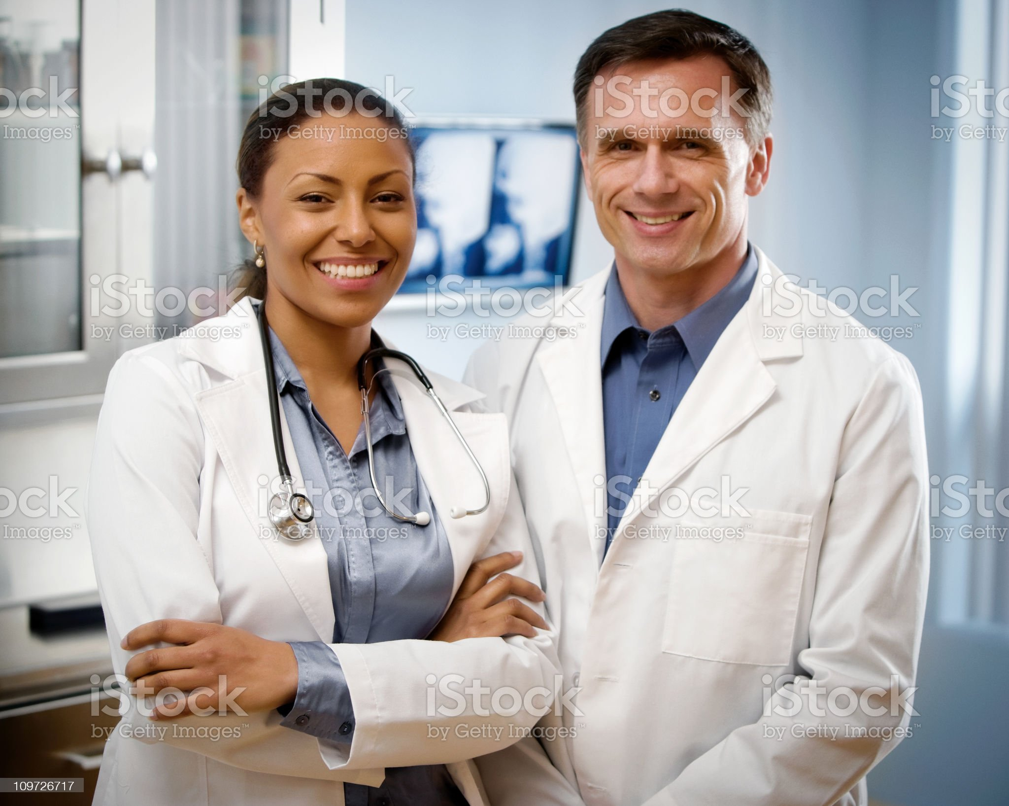 Portratit of Mature Femal and Male Doctor royalty-free stock photo