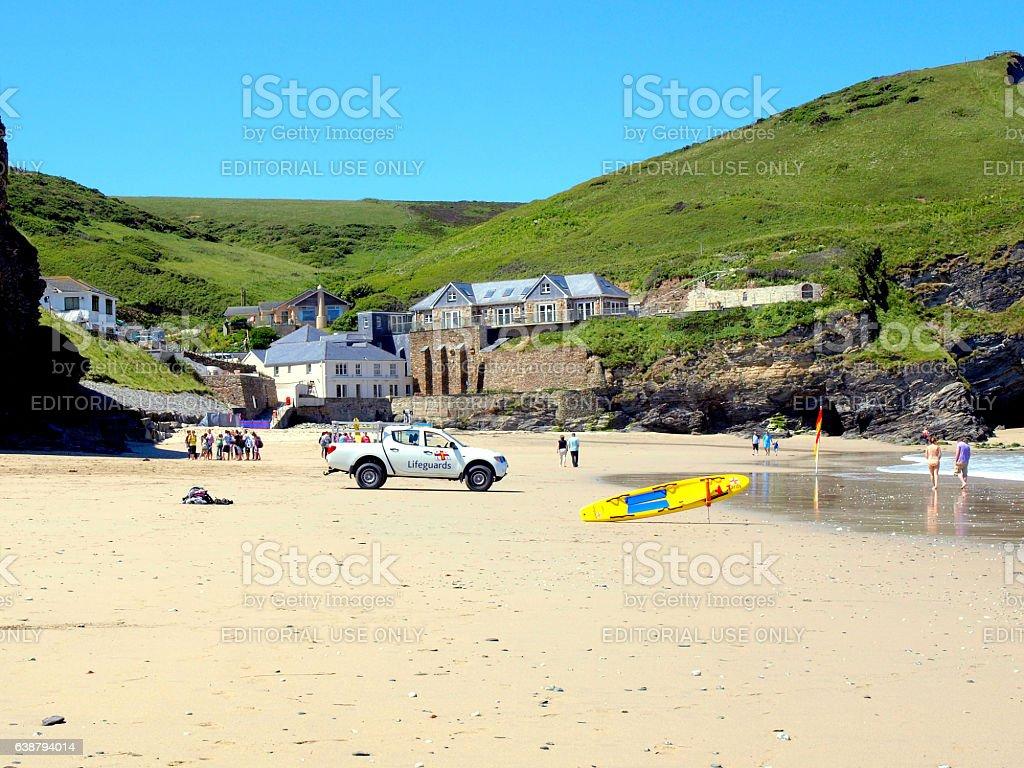 Portreath beach, Cornwall. stock photo