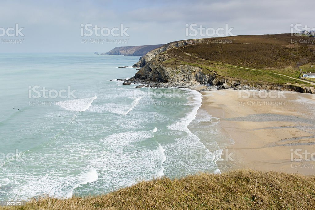 Portreath North Cornwall England UK between St Agnes and Godrevy royalty-free stock photo
