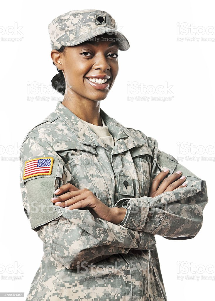 Portriat of a female soildier stock photo