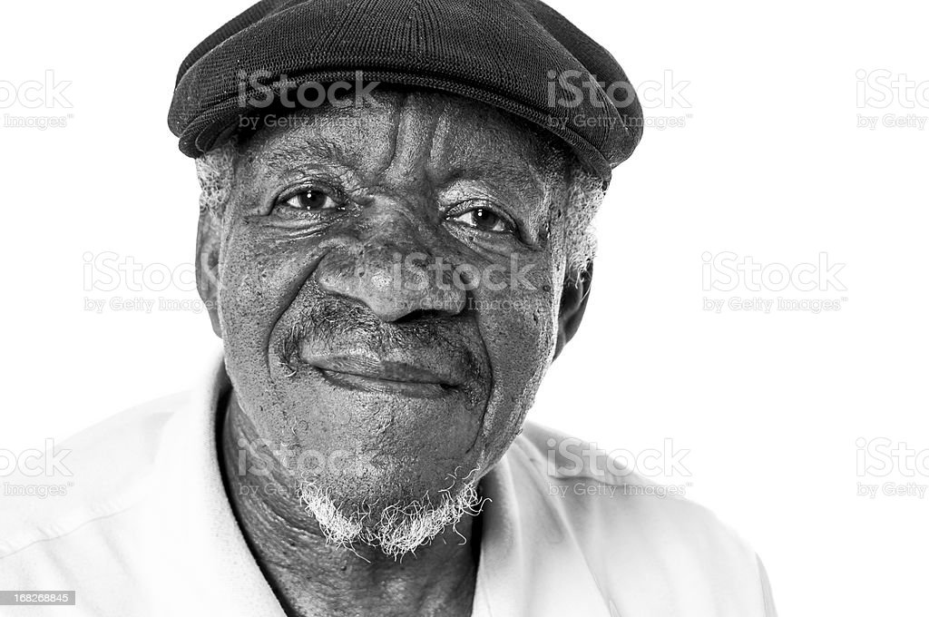 Portriat of Senior African American Man in Black and White stock photo