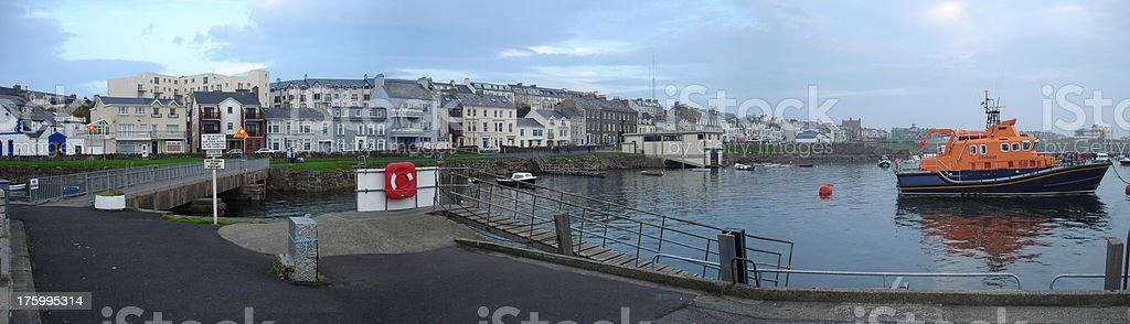 Portrush Harbour Panorama stock photo