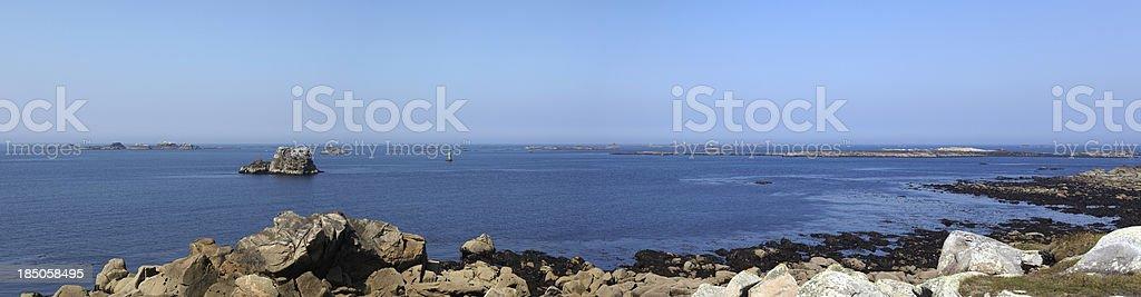 Portsall Coastal Seascape, Finisterre, Brittany, France stock photo