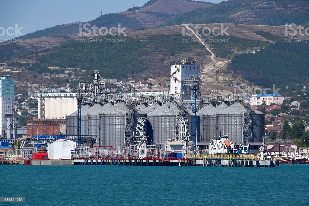 Portside Plant for storage, drying and handling of grain stock photo