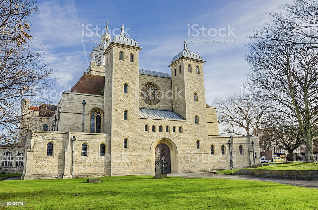 Portsmouth Cathedral on a Sunny Winter Day royalty-free stock photo