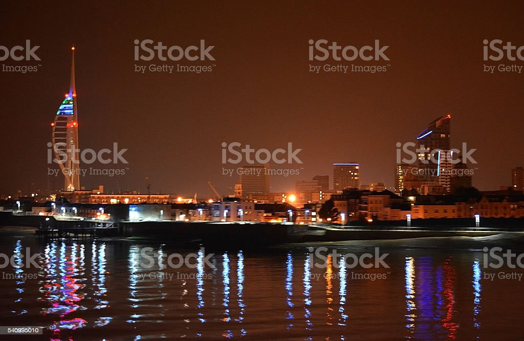 Portsmouth City Skyline Reflections stock photo