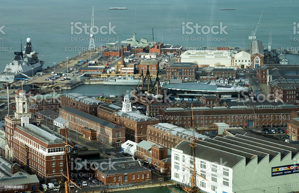 Portsmouth dockyard with HMS Victory and Dauntless stock photo