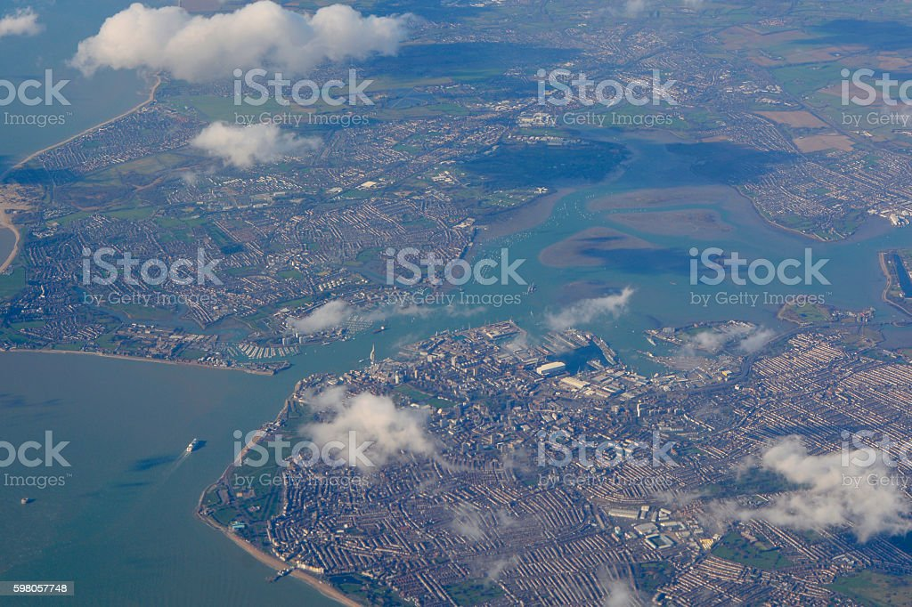 Portsmouth, Hampshire, England from the air stock photo