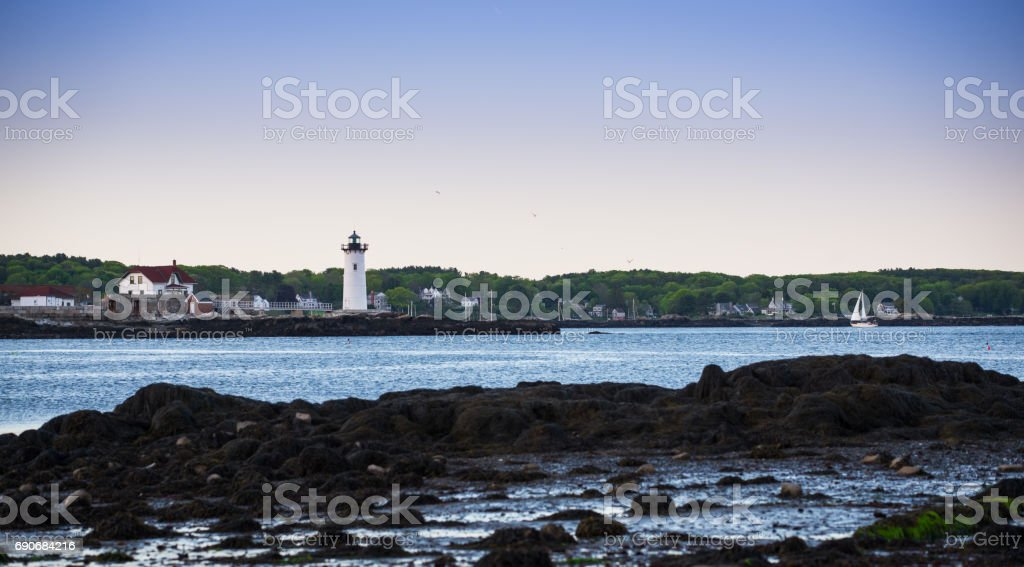 Portsmouth Harbor Lighthouse in New Castle, NH stock photo