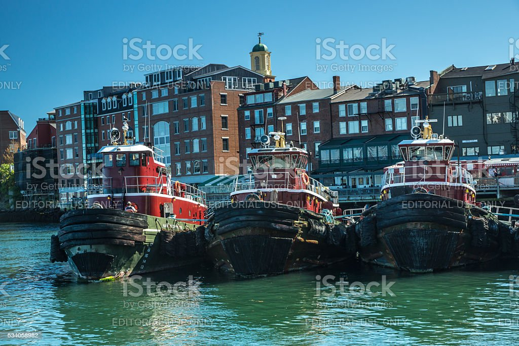 Portsmouth Harbor Tugboats stock photo