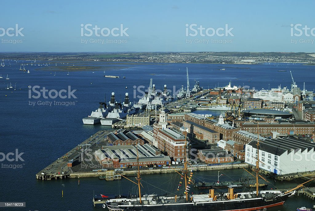 Portsmouth Harbour from Spinnaker Tower stock photo