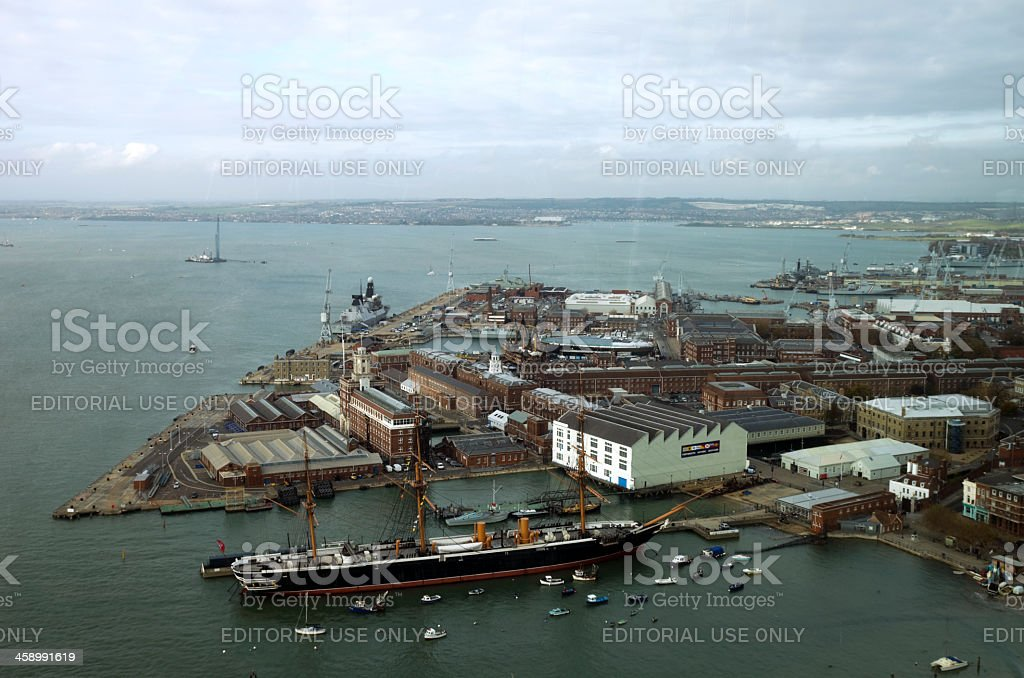 Portsmouth Historic Dockyard view stock photo