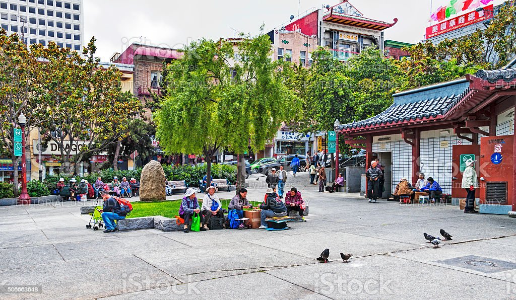 Portsmouth Square the Heart of San Francisco Chinatown stock photo