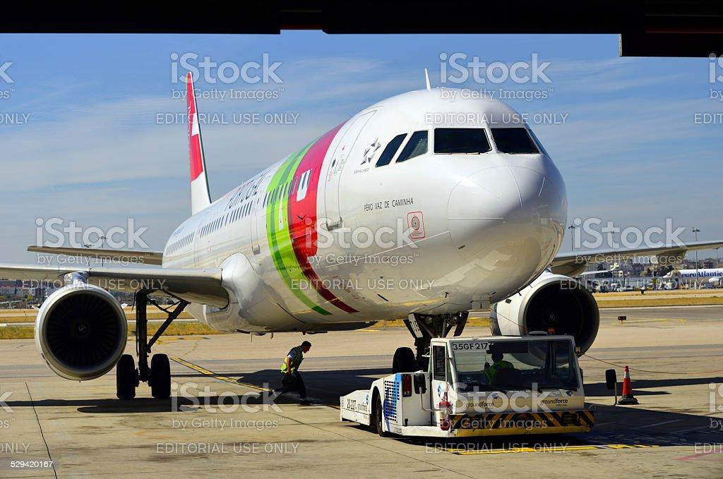 TAP Portugal aircraft at Lisbon Airport stock photo