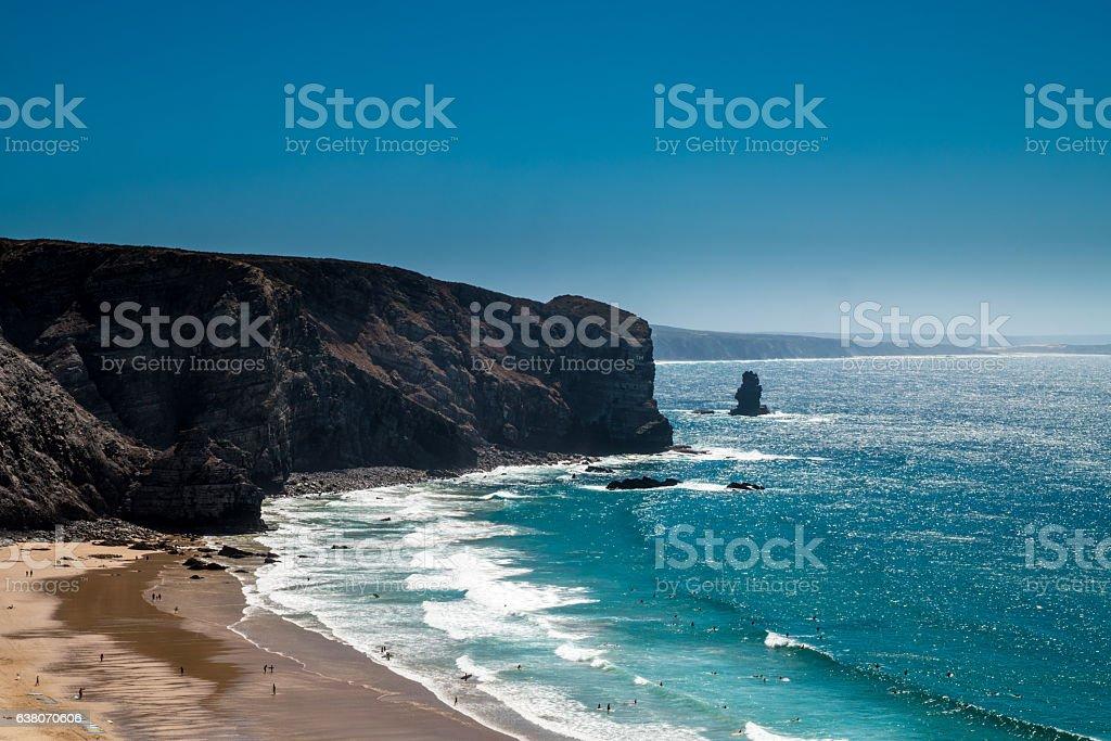 Portugal - Beach in a bay stock photo