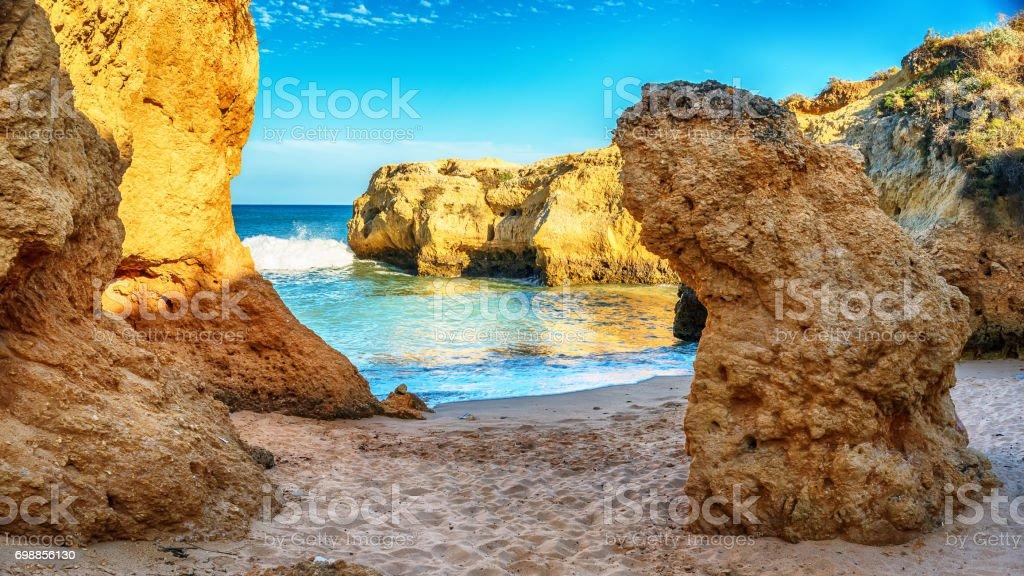 Portugal: beautiful rocks in the coast of Algarve stock photo