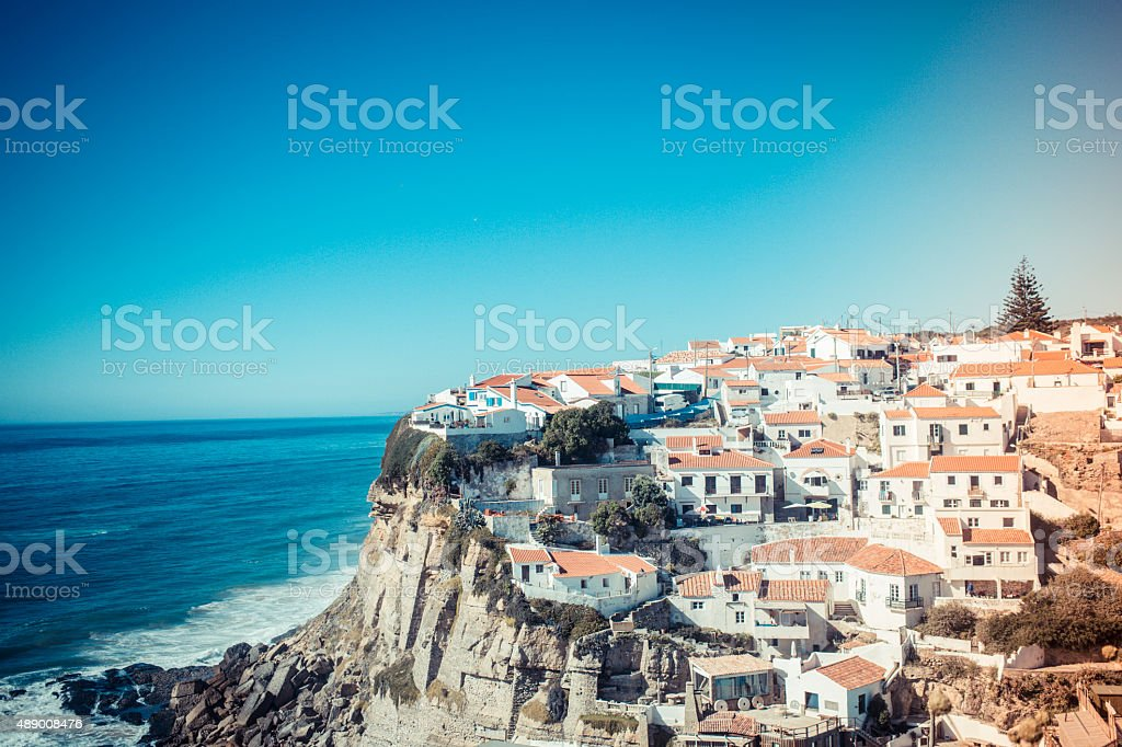 Portugal Cascais coast view stock photo