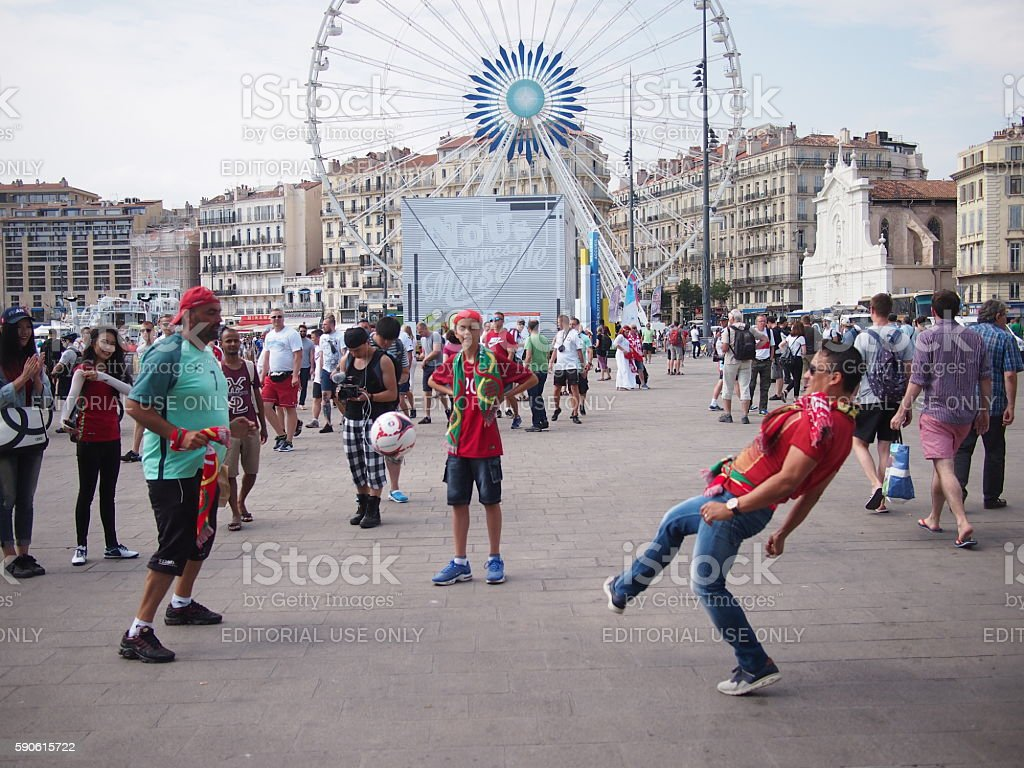 Portugal fans playing football stock photo