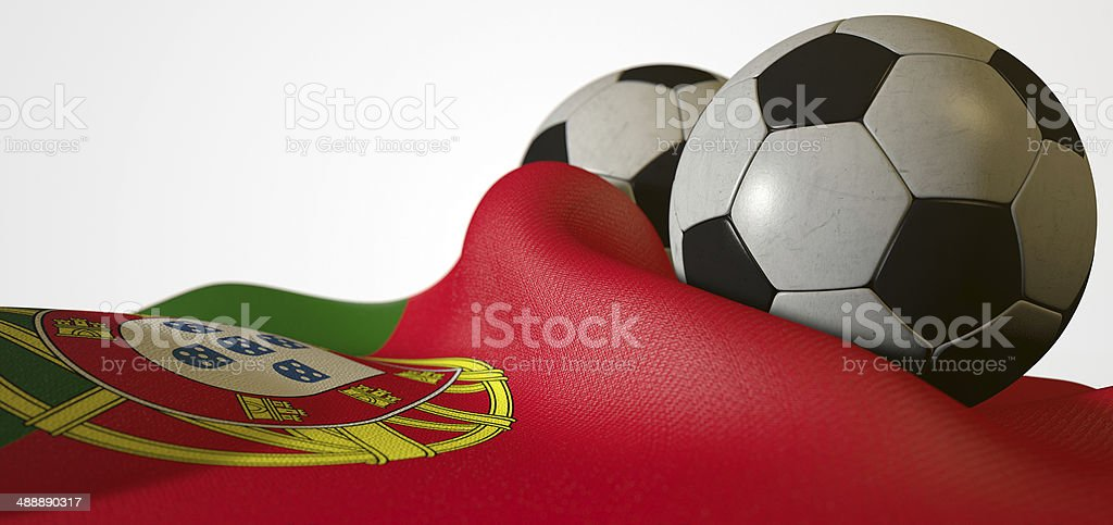Portugal Flag And Soccer Ball stock photo