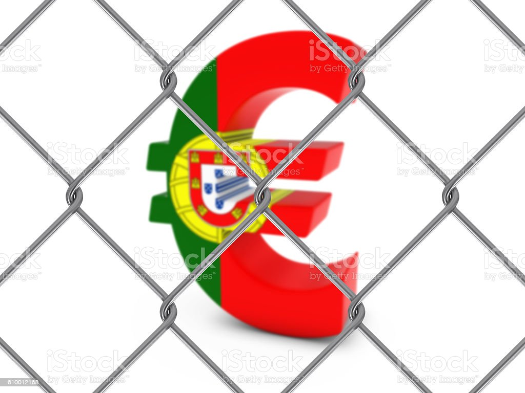 Portugal Flag Euro Symbol Behind Chain Link Fence stock photo