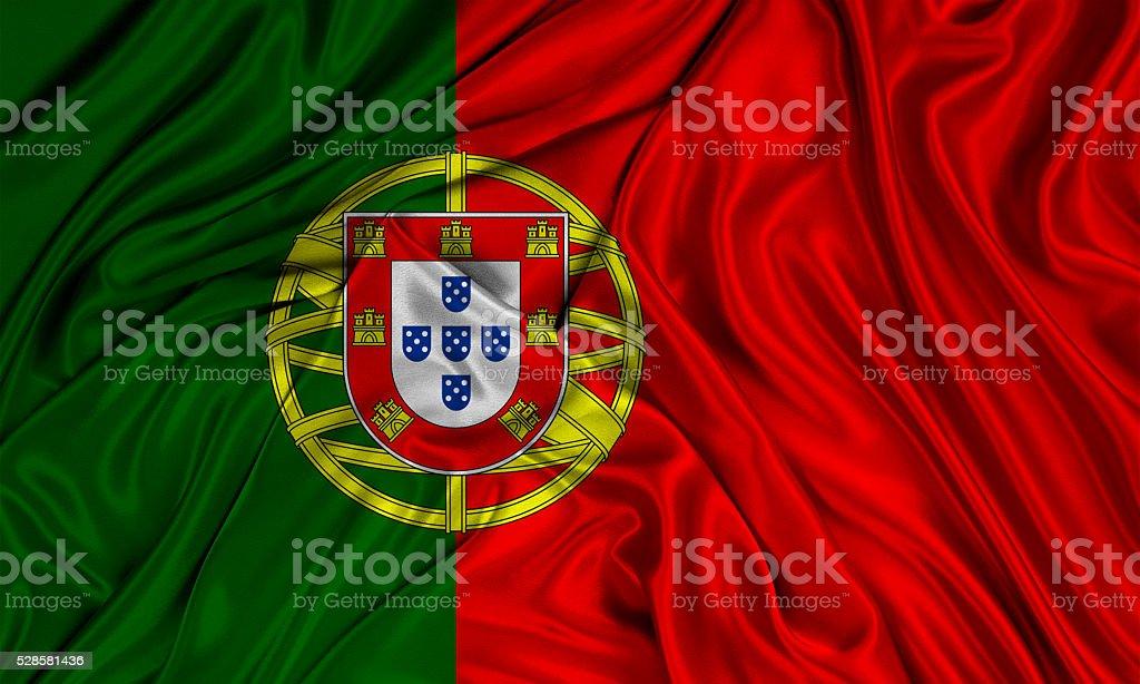 Portugal flag, three dimensional render, satin texture stock photo
