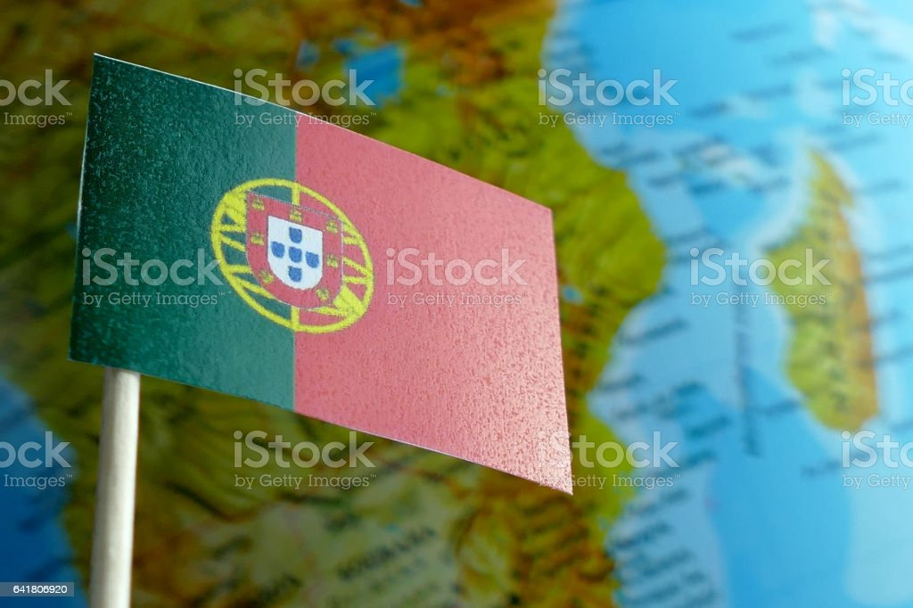 Portugal Flag With A Globe Map As A Background Macro Stock Photo - Portugal globe map