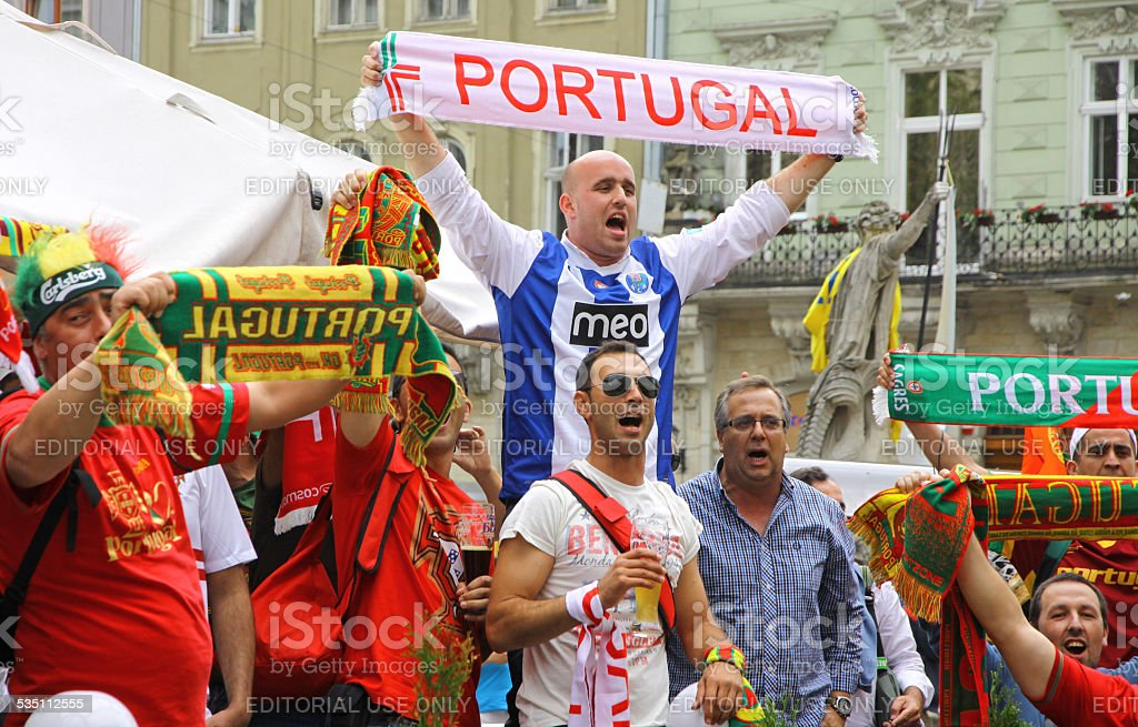 Portugal football team supporters stock photo