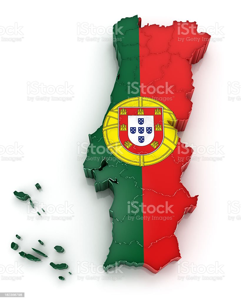 Portugal map with flag royalty-free stock photo