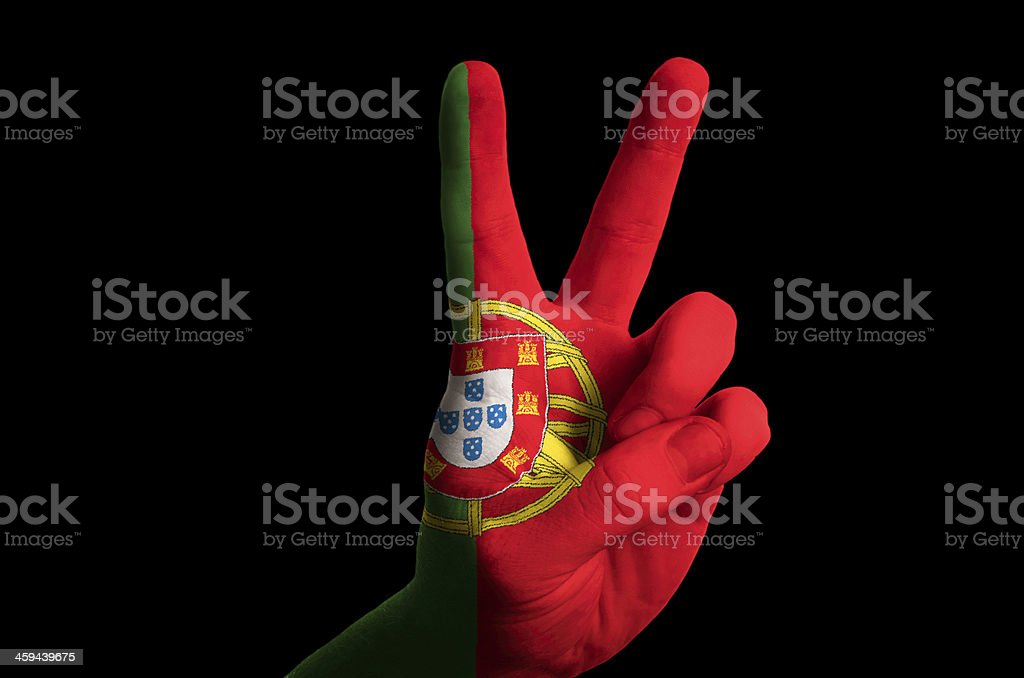 portugal national flag two finger up gesture for victory stock photo