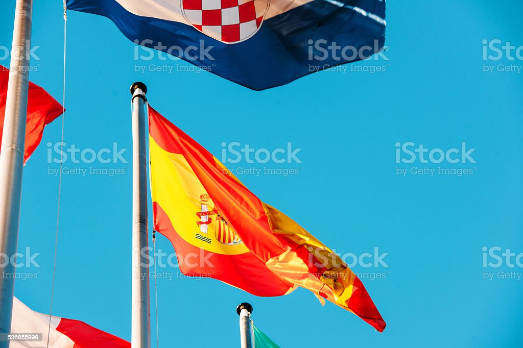 Portugal National flag waving in wind stock photo