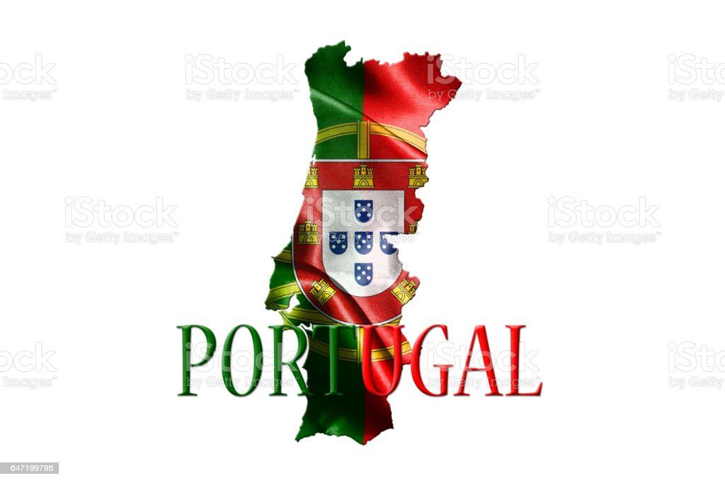 Portugal National Flag With Map Of Portugal And Name Of The Country Isolated On White Background 3D illustration stock photo