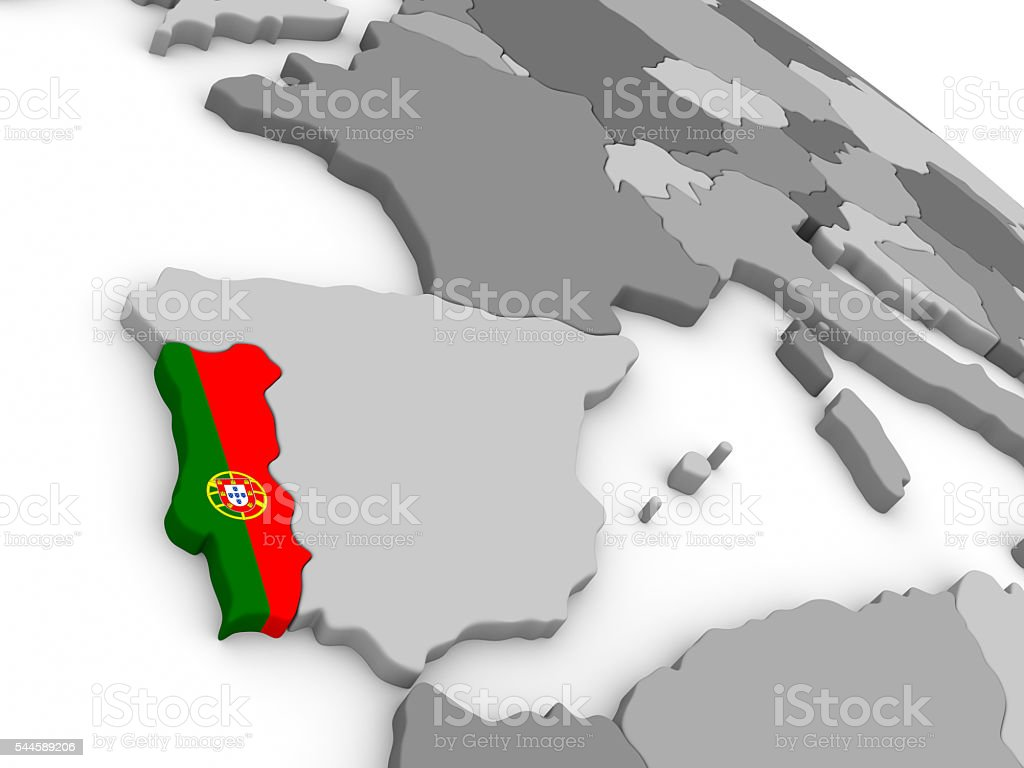 Portugal on globe with flag stock photo
