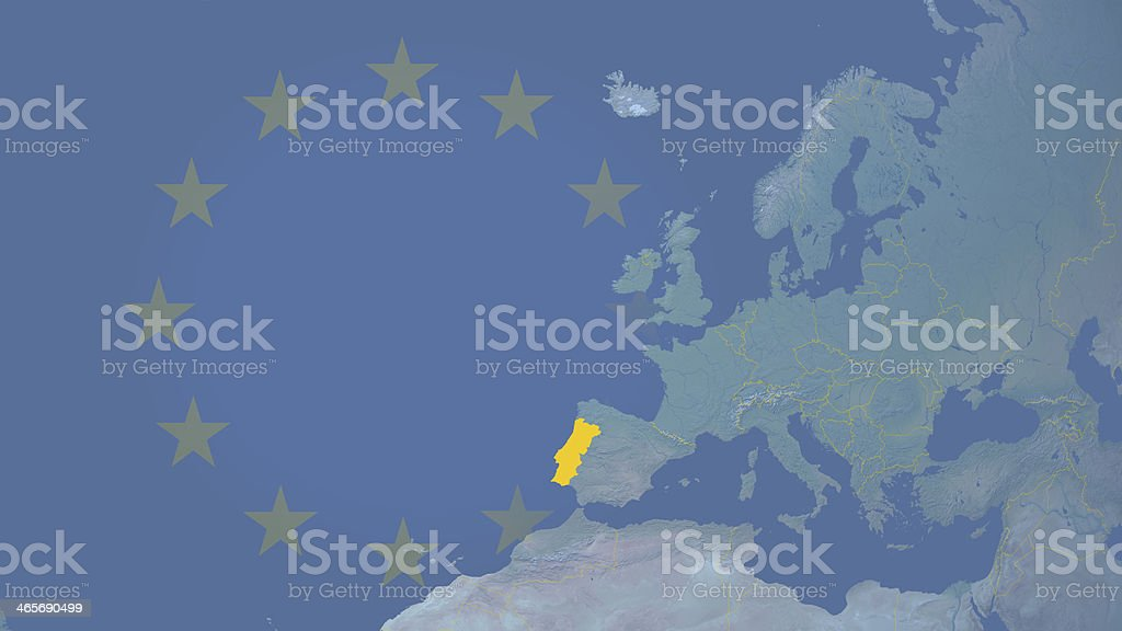 Portugal part of  European union since 1986 16:9 with borders royalty-free stock photo