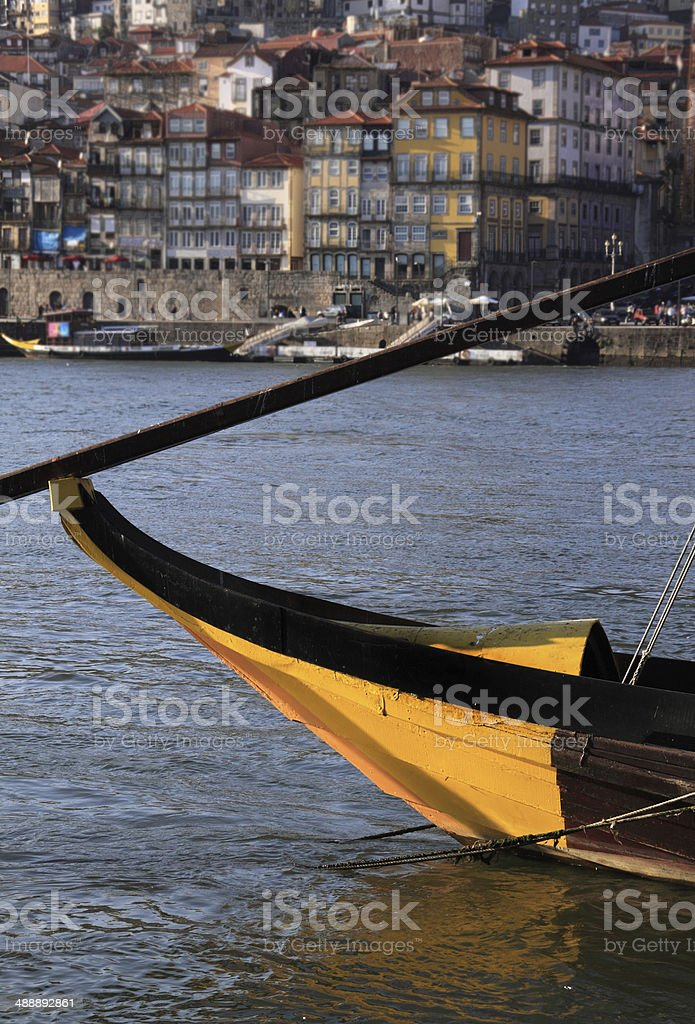 Portugal, Porto. Detail of a traditional 'rabelo' boat. stock photo