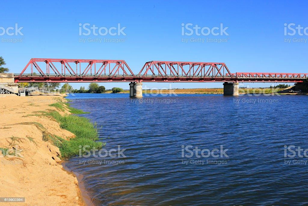 Portugal, Ribatejo Region, Santarem, Coruche. Bridge over the Sorraia River stock photo