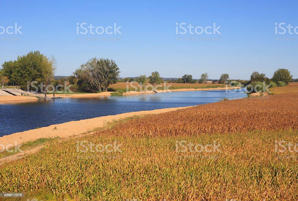 Portugal, Ribatejo Region, Santarem, Coruche. Sorraia River and agricultural fields. stock photo