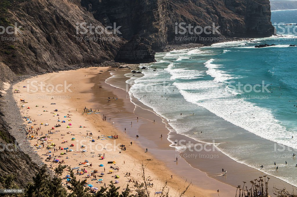 Portugal - Sunbathing on the beach stock photo