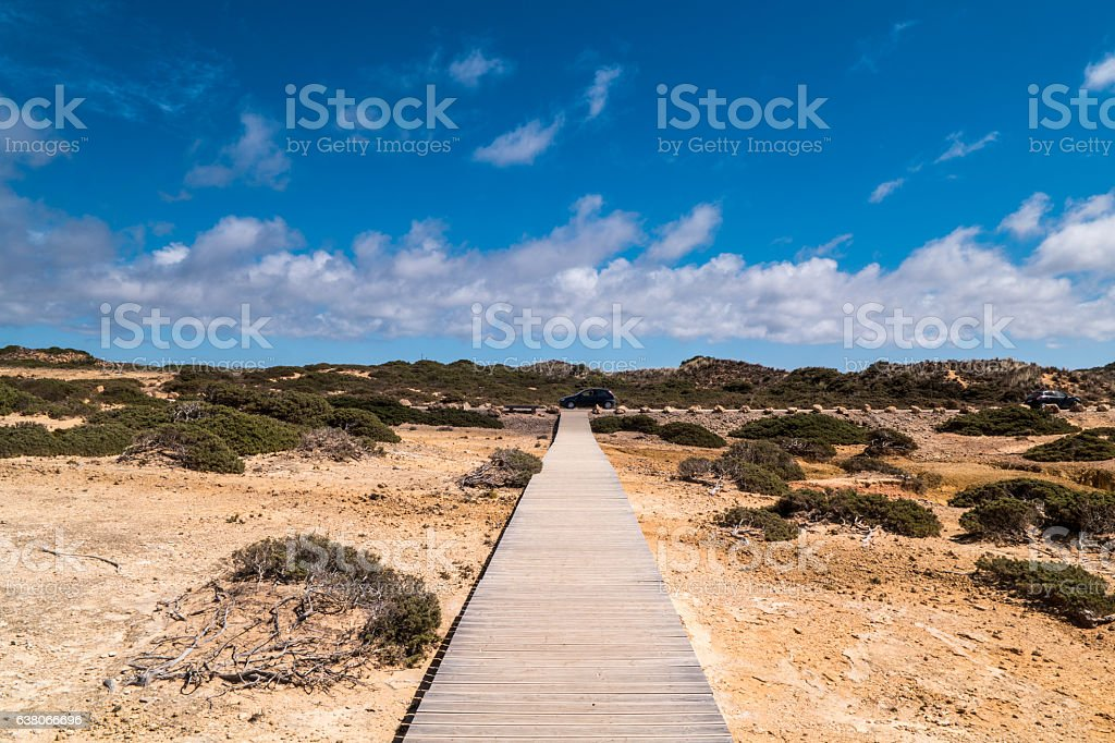 Portugal - Wooden path on the beach stock photo