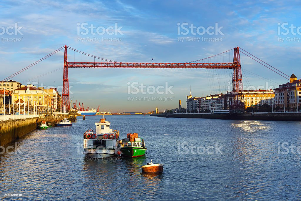 Portugalete and Las Arenas of Getxo with hanging bridge stock photo