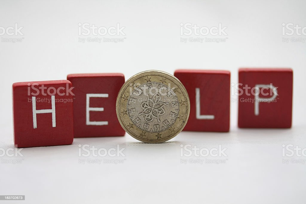 Portugese Euro Coin and the word Help royalty-free stock photo
