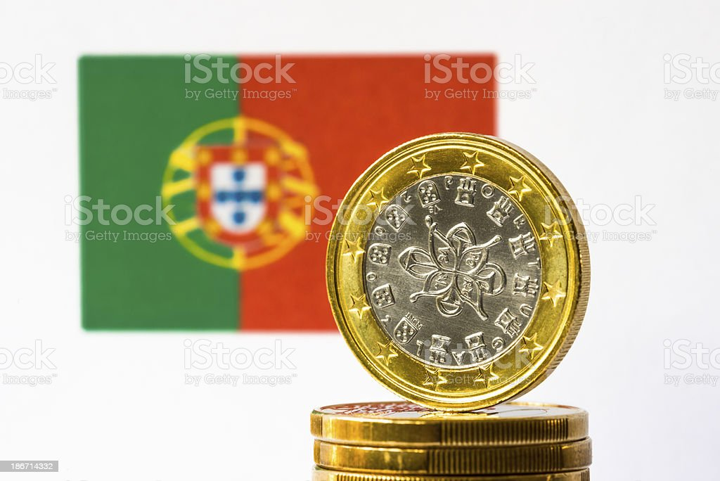 Portugese Flag and Euro royalty-free stock photo