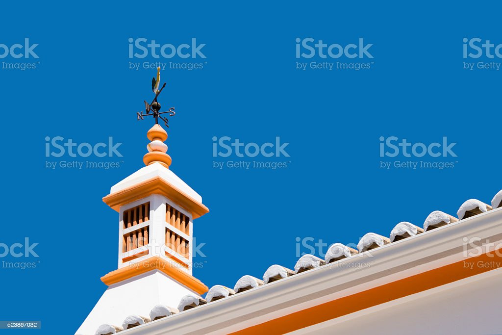 Portugese rooftop chimney stock photo